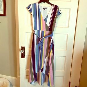 Striped cocktail dress v neck with tie waist